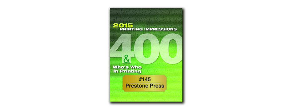 Prestone Ranked 145th Largest Printer in United States and  #1 Largest Lithographer in New York City