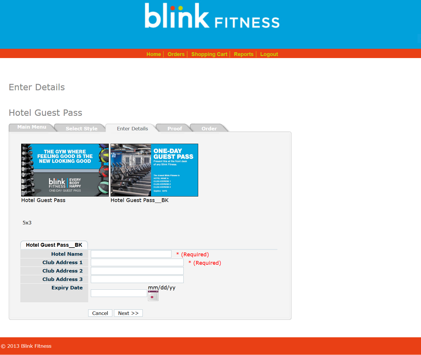Blink Template Page